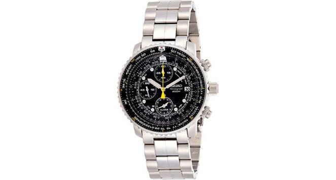 Seiko, Men's Quartz Flight Chronograph Alarm Stainless Steel Watch
