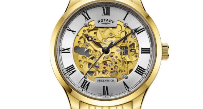 Rotary, GB02941-03 Greenwich Gold Tone Automatic Wristwatch