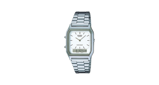 White And Silver 'Classic' Chronograph Watch - AQ-230A-7DMQYES