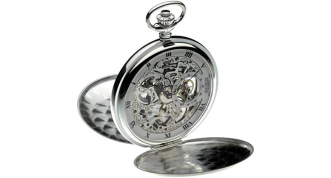Jean Pierre, Solid Sterling Silver Double Hunter Skeleton Pocket Watch