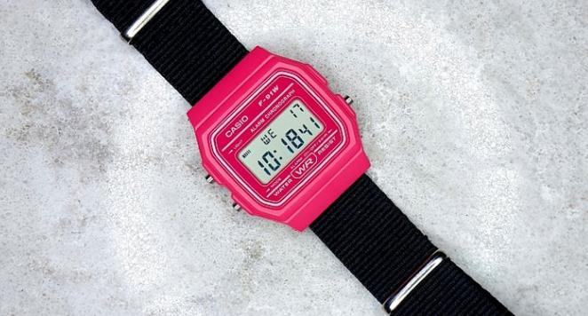 Casio, F91W Pink Watch On Black Nylon Nato Strap