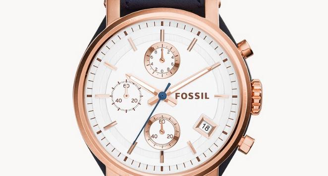 FOSSIL, Original Boyfriend Chronograph Navy Leather Watch