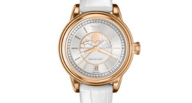 Aviator, Ladies Douglas DC-3 Moonfight Moonphase Watch With Genuine Leather Strap