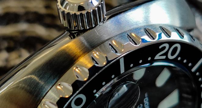 close up of a seiko watch case