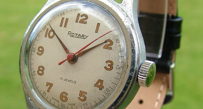 close up of 1950s watch