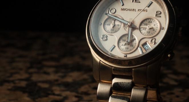 Michael Kors white dial watch with metal bracelet
