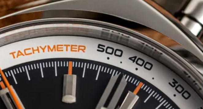 Close up of tachymeter scale