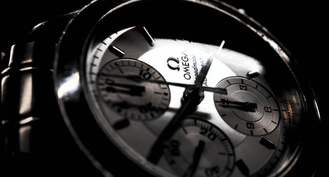 Close up of Omega watch dial