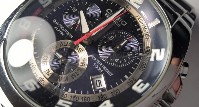 close up of watch with bezel