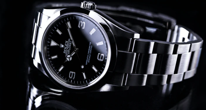 Black Rolex Oyster Perpetual Explorer with black background