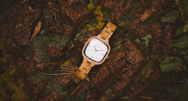wooden mechanical watch on forest floor