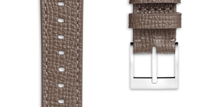 Women's Textured Calf Leather Watch Strap In Grey