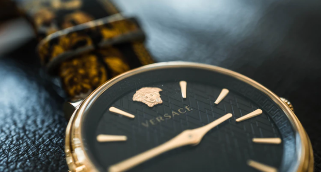 Versace black and gold watch