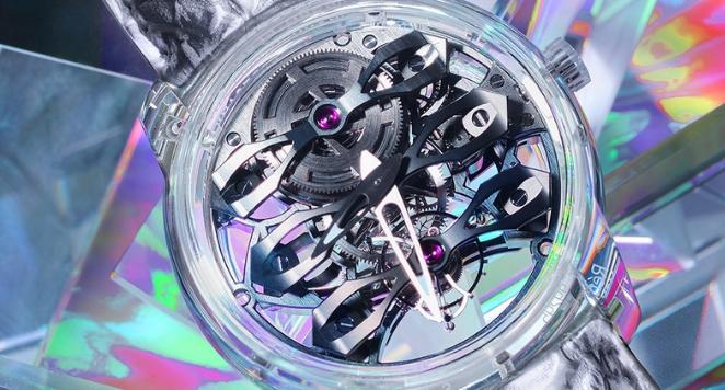 silver sapphire glass skeleton watch