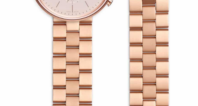 Women's linked watch bracelet with butterfly clasp in PVD rose gold