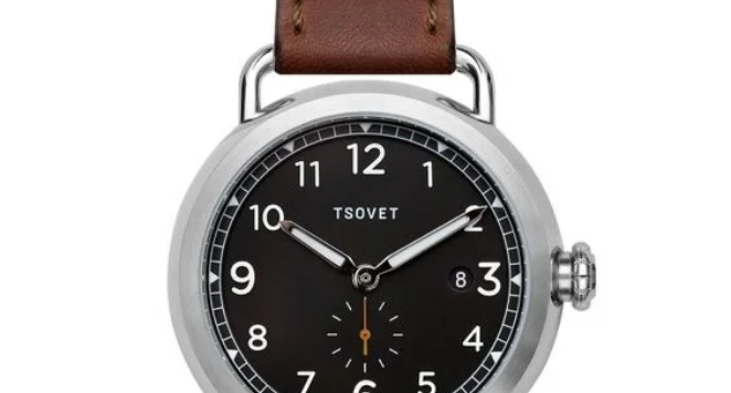 TSOVET black dial watch with brown leather strap
