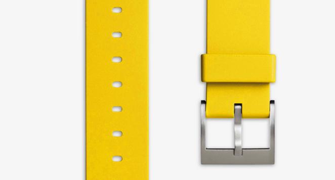 Men's Straight Profile Nitrile Rubber Watch Strap In Yellow